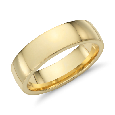 low dome comfort fit ring 18k yellow gold 18k gold wedding bands Low Dome Comfort Fit Wedding Ring in 18k Yellow Gold 6mm
