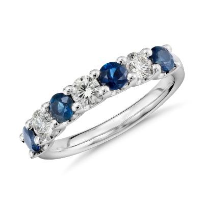 luna seven stone sapphire diamond ring platinum blue wedding rings Luna Seven Stone Sapphire and Diamond Ring in Platinum