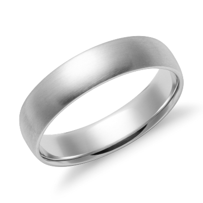 matte high dome wedding ring white gold 5 mm brushed gold wedding band Matte Mid weight Comfort Fit Wedding Band in 14k White Gold 5mm