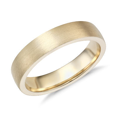 matte low dome comfort fit ring 14k yellow gold yellow gold wedding rings Matte Low Dome Comfort Fit Wedding Ring in 14k Yellow Gold 5mm