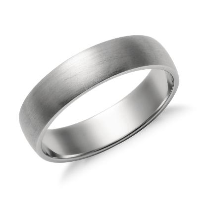 matte wedding ring 14k white gold wedding ring mens Matte Classic Wedding Ring in 14k White Gold 5mm