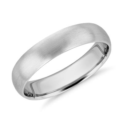 matte high dome wedding ring white gold 5 mm titanium wedding band Need Help