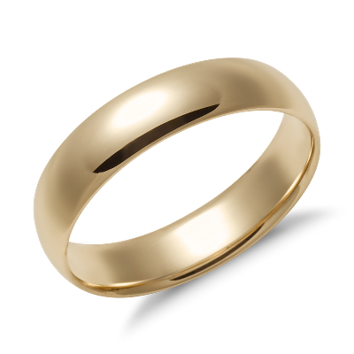 mens wedding rings rings wedding Mid weight Comfort Fit Wedding Band in 14k Yellow Gold 5mm