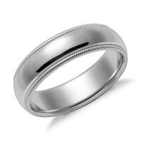 Milgrain Comfort Fit Wedding Ring in Platinum (6mm) | Blue ...