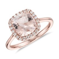 Morganite and Diamond Halo Cushion Ring in 14k Rose Gold ...