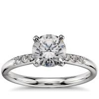 1 Carat Preset Petite Diamond Engagement Ring in Platinum ...