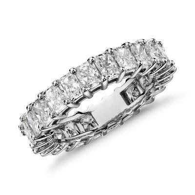 radiant cut diamond eternity ring platinum overstock wedding rings Radiant Cut Diamond Eternity Ring in Platinum 5 ct tw