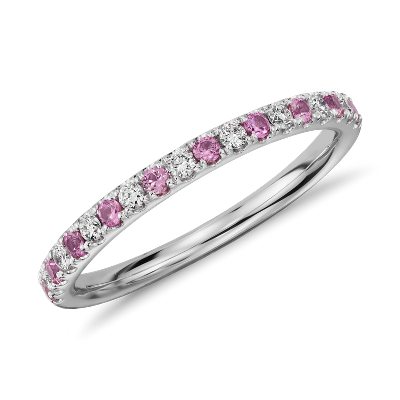 riviera diamond pink sapphire ring 14k white gold pink diamond wedding band Riviera Pav Pink Sapphire and Diamond Ring in 14k White Gold 1 5mm
