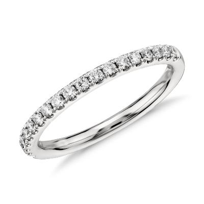 diamond women wedding band Riviera Pav Diamond Ring in 14k White Gold 1 4 ct tw