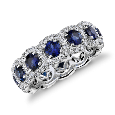 sapphire diamond halo eternity ring 18k white gold sapphire wedding band Sapphire and Diamond Halo Eternity Ring in 18k White Gold