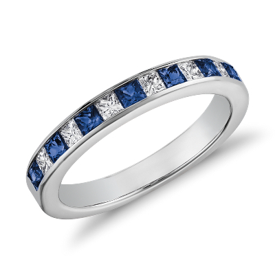 sapphire diamond ring 14k white gold sapphire wedding bands Channel Set Princess Cut Sapphire and Diamond Ring in 14K White Gold