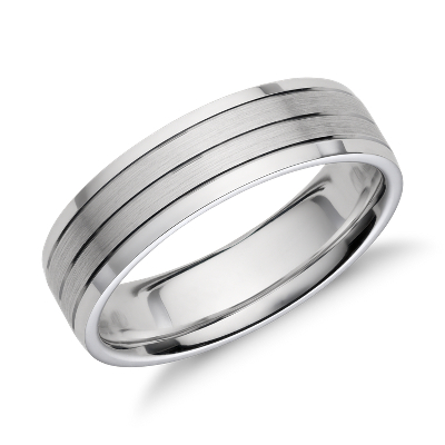 trio inlay 14k gold wedding band wedding ring trios Trio Inlay Wedding Ring in 14k White Gold 6mm