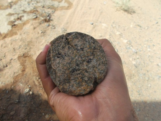 4 colour minerals in a core sample of a rock