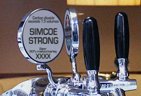 Imaginary keg font with 1977 Food Standards labelling recommendations.