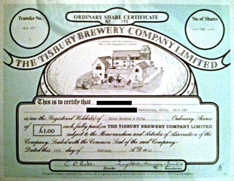 Tisbury Brewery share certificate, 1982.