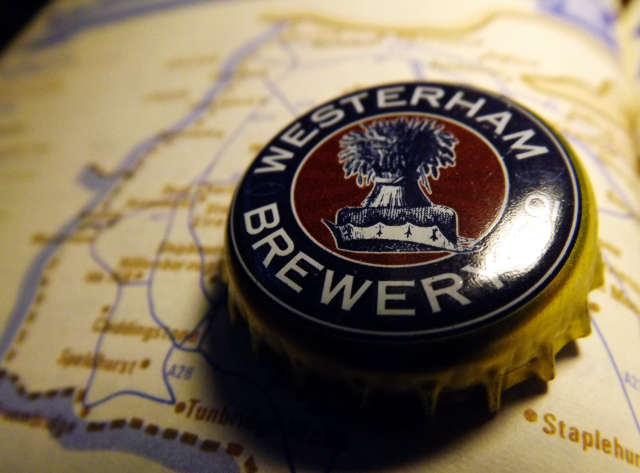 Westerham beer bottle cap on a map of Kent.