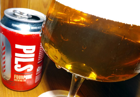 Fourpure Pils -- can and glass.