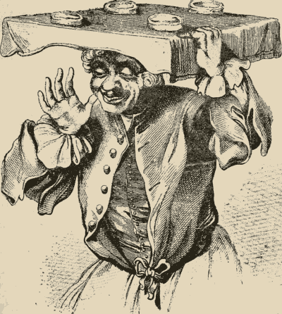 Hogarth's Pieman, adapted by George Cruikshank from a detail in the 1750 painting 'The March to Finchley'.