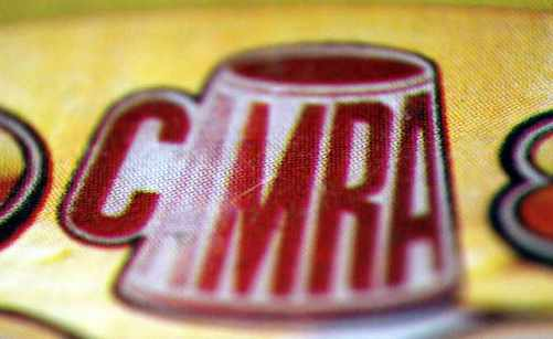 Close-up of the CAMRA logo from the 1984 Good Beer Guide.