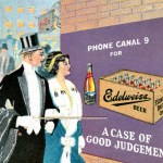 Edwardian advertisement for Edelweiss beer: top hatted man points at beer with his diamond-topped cane.
