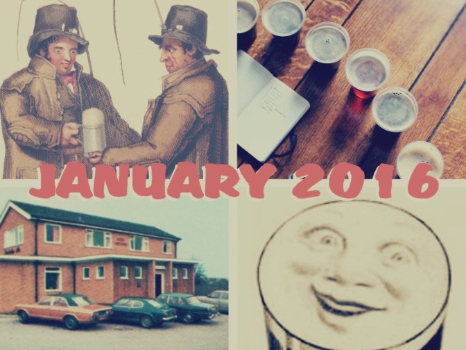 January 2016 collage: draymen, taste-off, estate pub and Guinness.