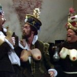 Blackadder II: Hugh Laurie, drunk, in a pair of comedy false breasts.