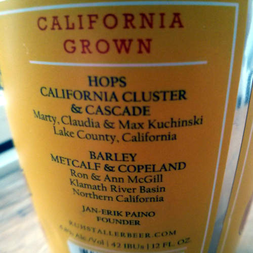 Labelling on Ruhstaller's can: hops, barley, etc.