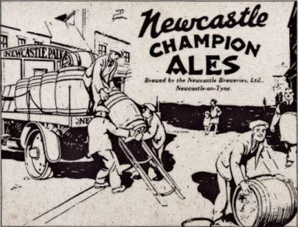 Old advertisement: men loading a dray with casks.