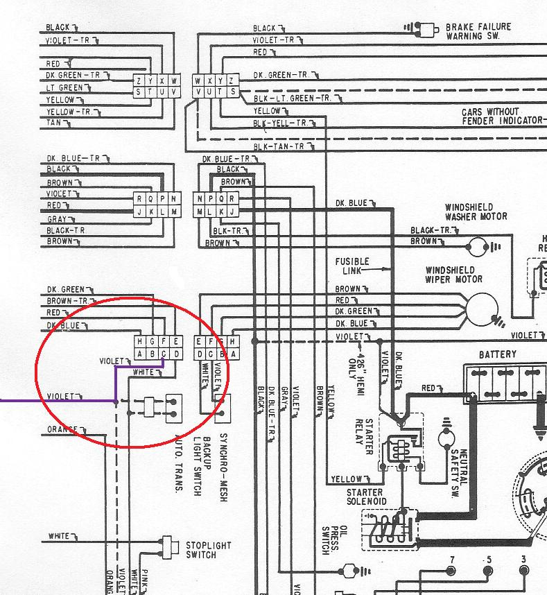 Where is the back up light switch on a 68 Satellite? Moparts