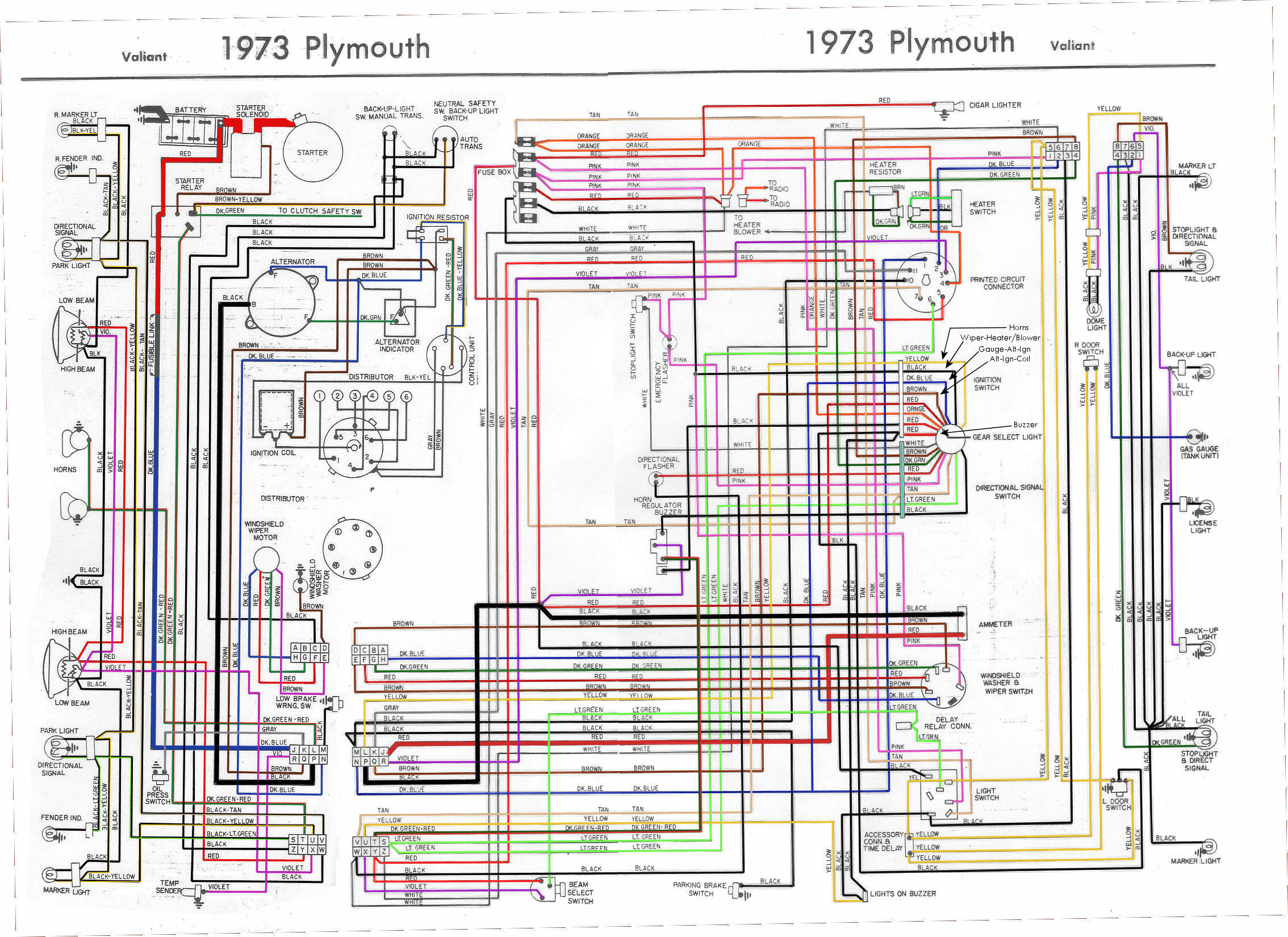 1963 63 Plymouth Fury Full Color Laminated Wiring Diagram 11