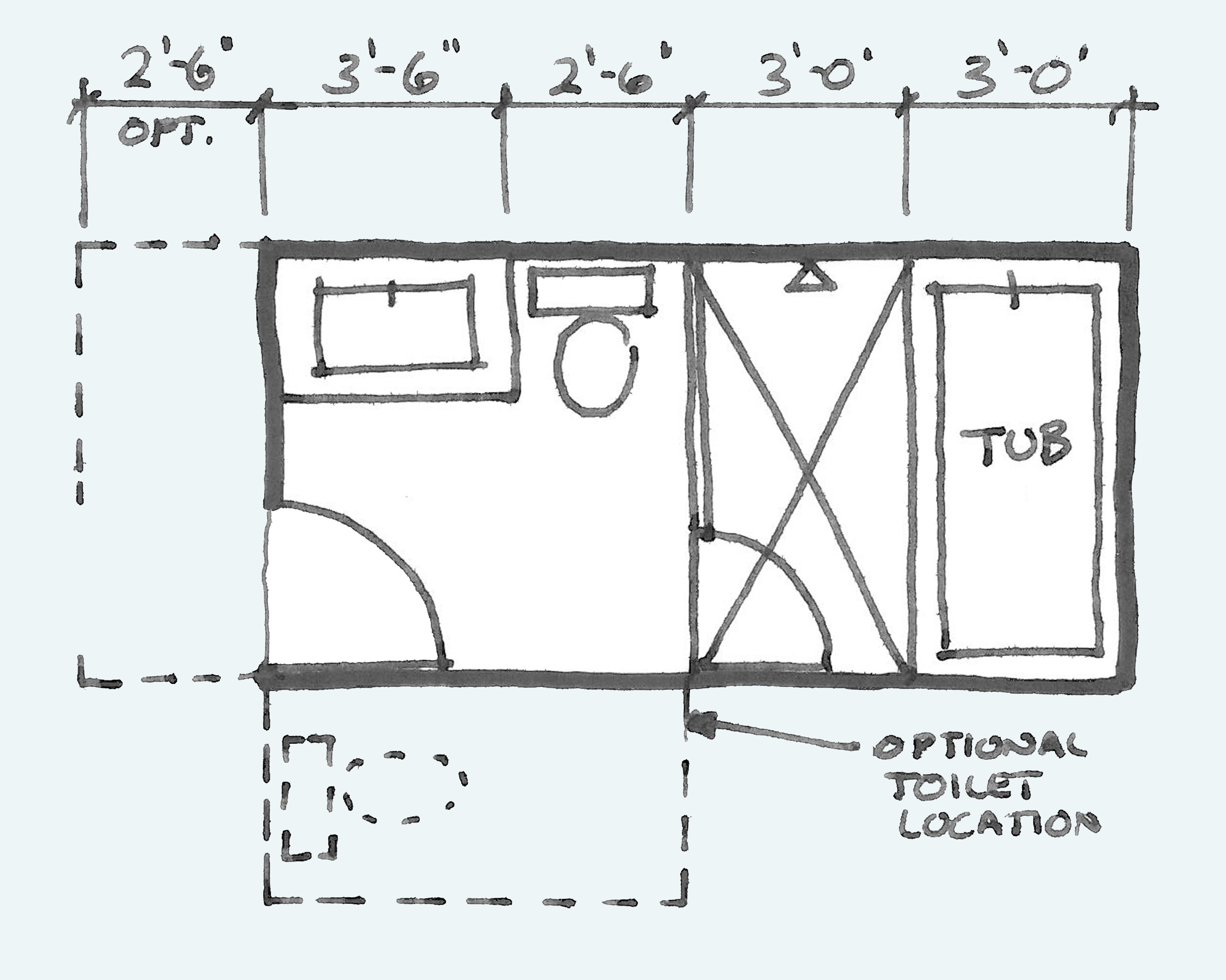 Common Bathroom Floor Plans Rules Of Thumb For Layout Board Vellum