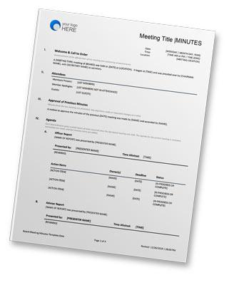 Board Meeting Minutes Template Free Word Doc Download