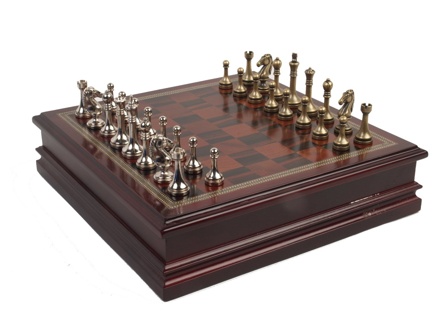 Steel Chess Pieces Metal Chess Set With Deluxe Wood Board And Storage 2 5
