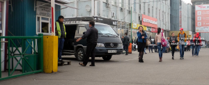 Vans leaving from the central market place in Irkutsk to the Baikal lake