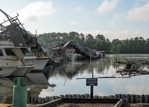 Massive tornado damage at Alred Marina in the wake of one of the largest tornado outbreaks ever recorded.