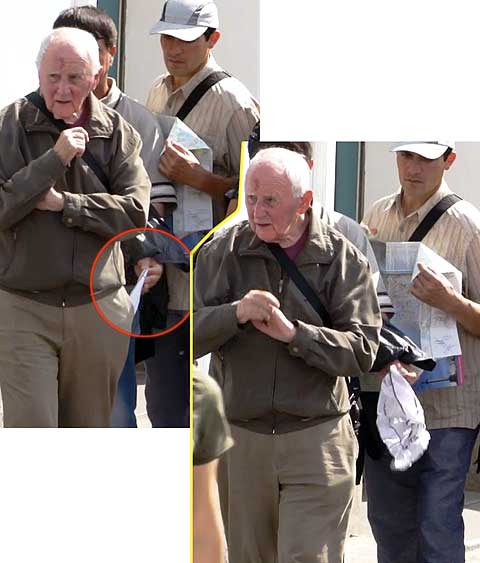 street crime in St. Petersburg, Russia. Something heavy, perhaps a wallet, can still be seen in the victim's trouser pocket.