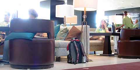 A backpack ignored in a hotel lobby