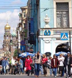 Why hunt thieves? The Metro station in St. Petersburg, Russia, with the Church on the Spilled Blood in the background. Probably a few pickpockets in the crowd, but who?
