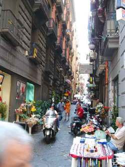 A typical street in Naples\' Quartieri Spagnoli.