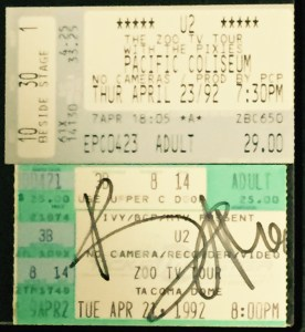 U2 ticket stubs from the final two shows of the first leg of 1992's groundbreaking Zoo TV tour.