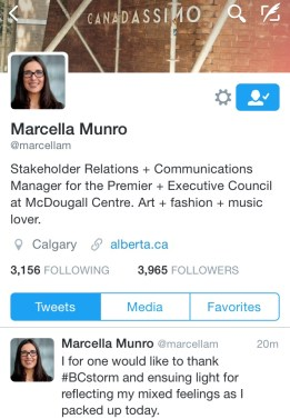 Munro Tweets goodbye B.C.
