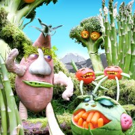 ILLUSTRATION - modeled with real vegetables, accentuated with photoshop - Community Food Coop, Bellingham WA
