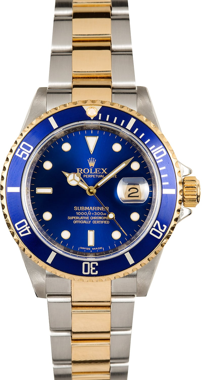 Air Prices Rolex Submariner 16613 Blue Dial Steel & Gold Bezel - On Sale