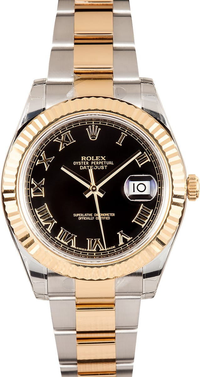 Luxury Watches Rolex Datejust Ii Black Roman Dial 116333 - Best Low Prices