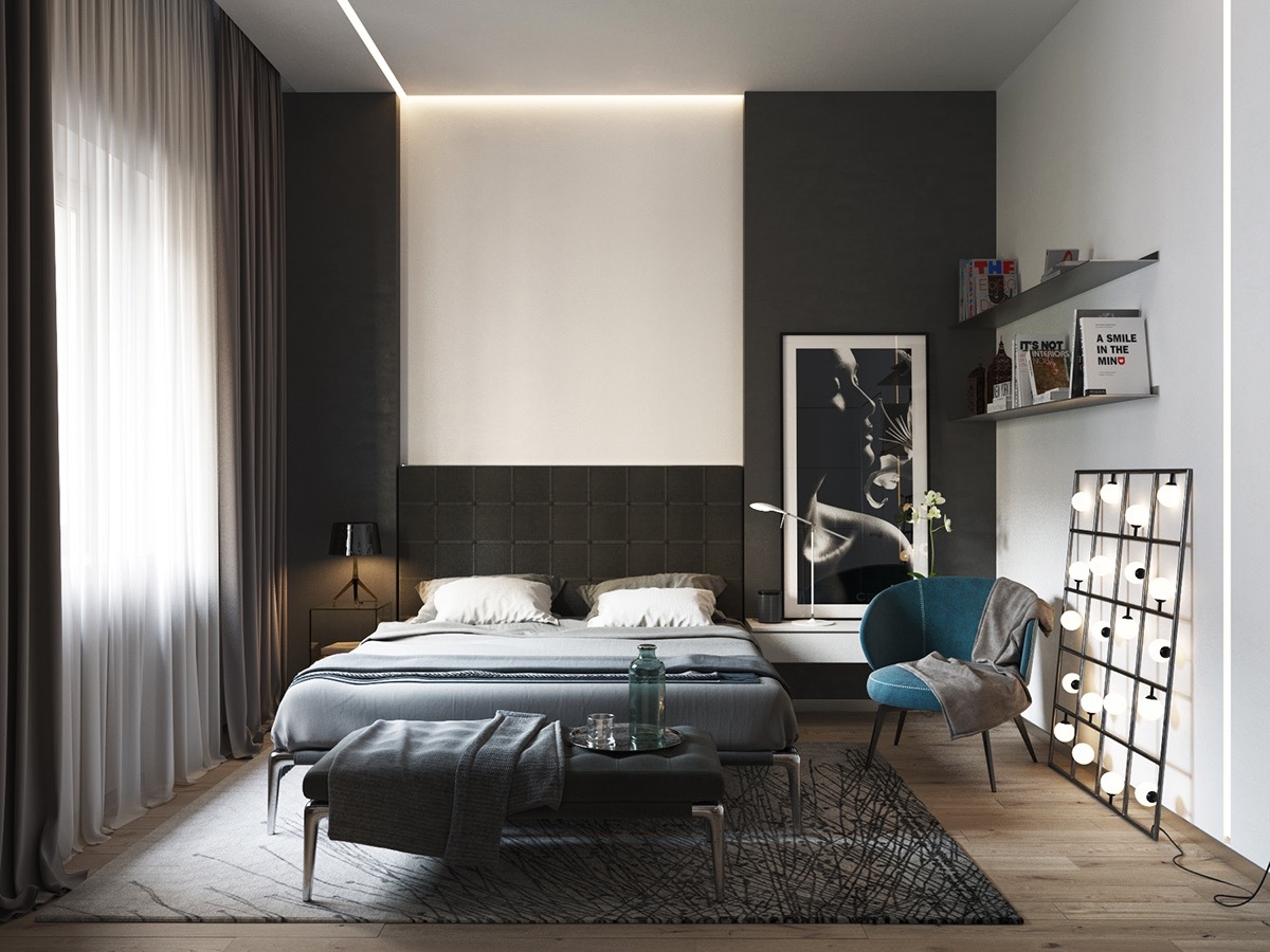Black And White Master Bedroom Shows The Stretch Of The Monochromatic