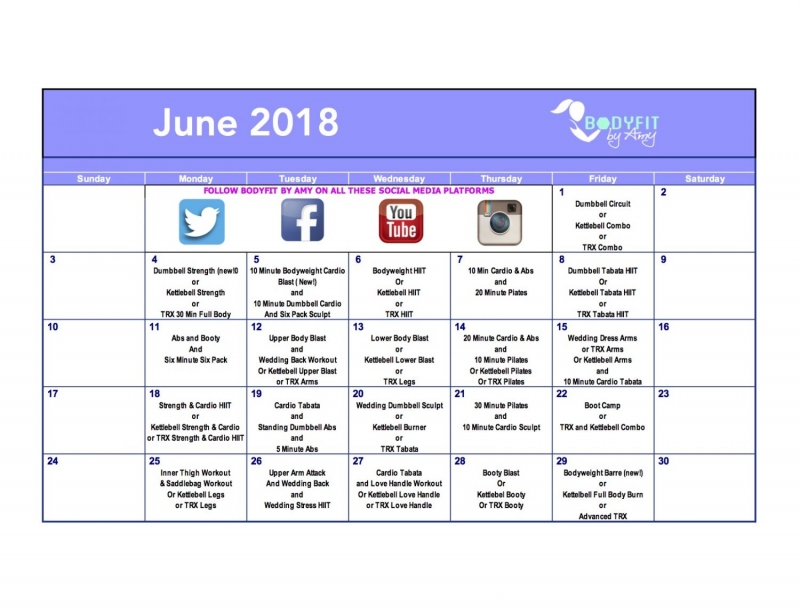 Workout Calendar - Bodyfit by Amy - workout calendar