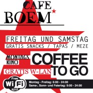 COFFEE TO GO + FREE WIFI + FRIDAYS AND SATURDAYS FREE SNACKS + MONDAY CINEMA