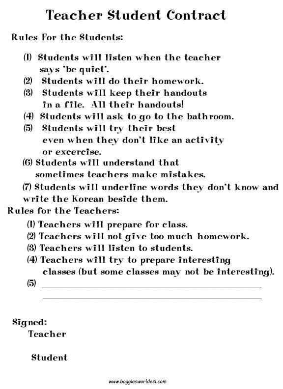 Nice Student Teacher Contract Template Photos \u003e\u003e Contract Template