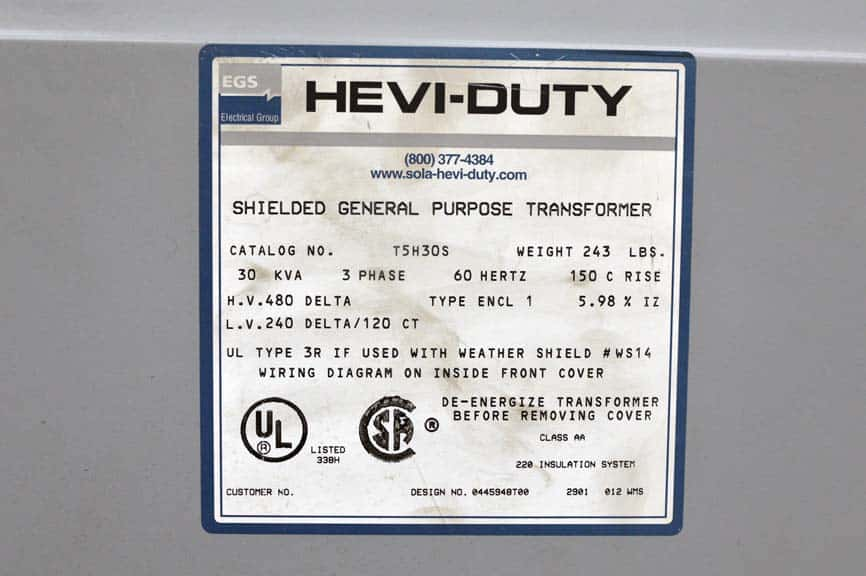 Hevi-Duty 30KVA Shielded General Purpose Transformer Boggs Equipment