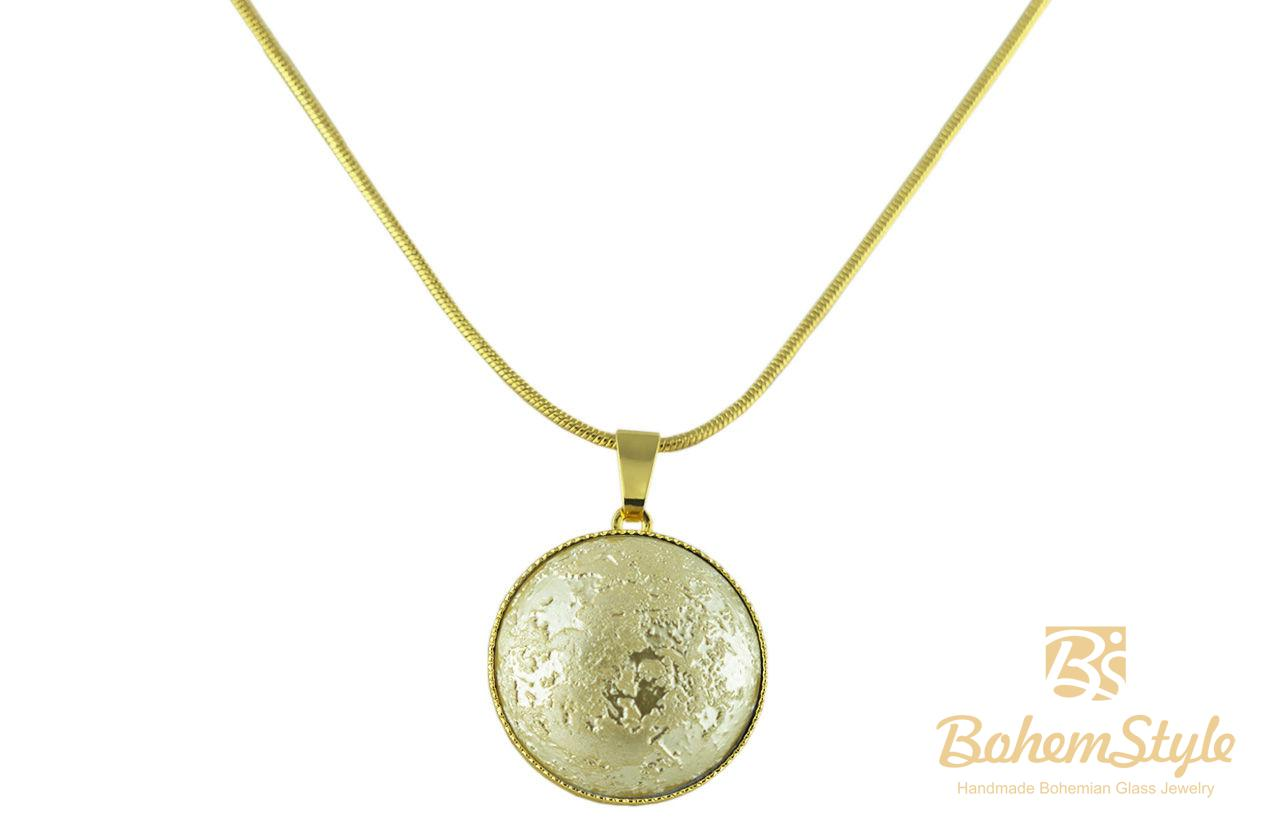 Cash Pool Zinsberechnung 24k Gold Plated Round Pendant Necklace 20mm Snake Chain 42cm Matte